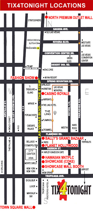South Outlet Mall Las Vegas Map.Tix4tonight Las Vegas Show Tickets